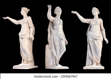 Sculpture of the ancient Greek god Latona isolate. Vintage carving set with Ancient greece mythology. Sculptor S. S. Pimenov. Created in 1822, the location of St. Petersburg,