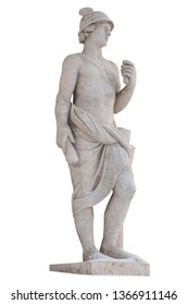 Sculpture of the ancient Greek god Mercury isolate. Mercury was a messenger and a god of trade, profit and commerce.