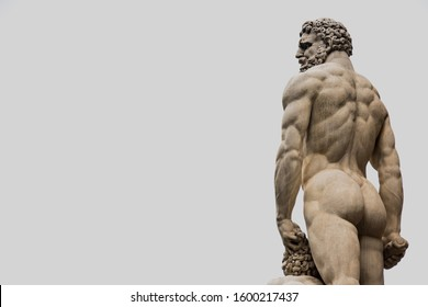 sculpture of ancient greek naked man from behind looking at the sky