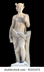 Sculpture of ancient man covered with snow isolated on black with clipping path. Mercury was a messenger and a god of trade, profit and commerce.