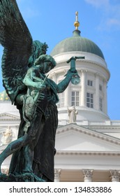 Sculpture of angel in front of the Helsinki Cathedral in Helsinki, Finland