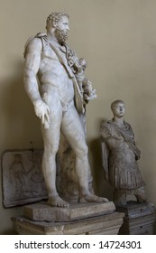 Sculpture of antique man in museum of Vatican