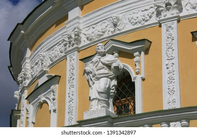 Sculpture of the Apostle adorning the facade of the Church of the Nativity of the Blessed Virgin in Podmoklovo, Moscow region, Russia.