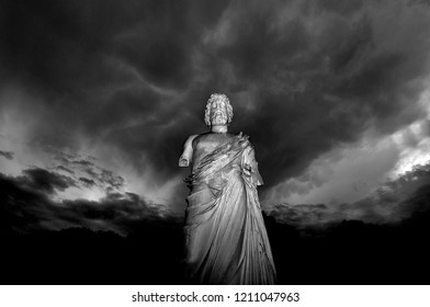 Sculpture of Asclepius in the ruins of Ampurias, Girona, Spain