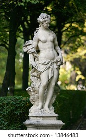 Sculpture of Aurora, the goddess of dawn, in the Summer Garden, St.Petersburg, Russia