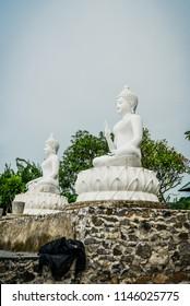 Sculpture of Buddha in budhist temple Brahma Vihara-Arama Banjar in Lovina, Indonesia, Bali.