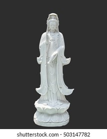 Sculpture carving of guanyin, isolated on background