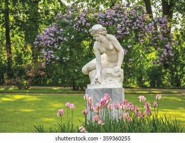 Sculpture in the Catherine Park in Tsarskoe Selo. Town of Pushkin near St. Petersburg, Russia