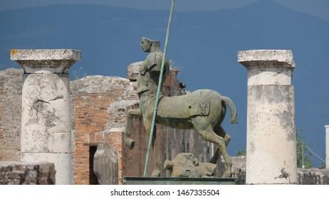 Sculpture of a centaur, in Pompeii, Italy.