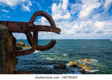 Sculpture (Comb Of The Wind by Chillida) in San Sebastian, Basque Country, Spain