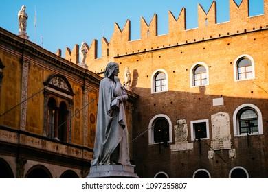 Sculpture of Dante Alighieri in a famous square of Verona