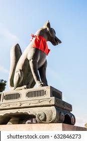 Sculpture of  dog (Komainu) at Shinto temple