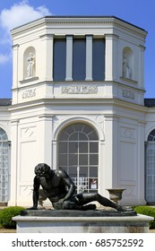 Sculpture of the Dying Gaul (replica) at an orangery in Putbus, Ruegen Island, Mecklenburg-Western Pomerania, Germany, Europe, 25. June 2010