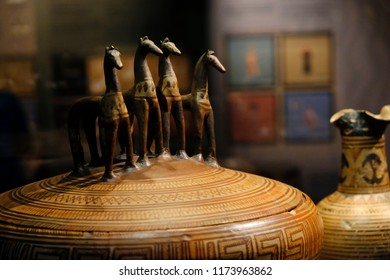 A sculpture in an exhibit at the Museum of Cycladic Art in Athens, Greece on. Aug. 25, 2018.The Museum attracts thousands of visitors from all over the world every year.
