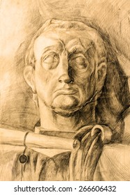 Sculpture with fabric. Classic pencil drawing on paper - plaster figure. Antiquity. Old picture. Textured very old paper with visible traces old.Sepia.