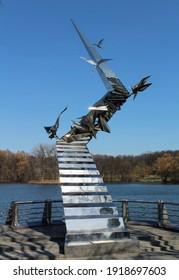 Sculpture with flying birds, Minsk, Belarus