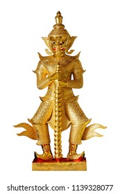sculpture giants statue in thai temple on white background