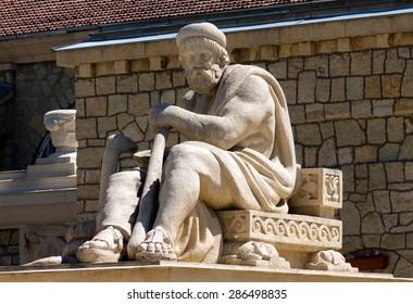Sculpture of the god of Asclepius in Essentuki,Northern Caucasus,Russia.