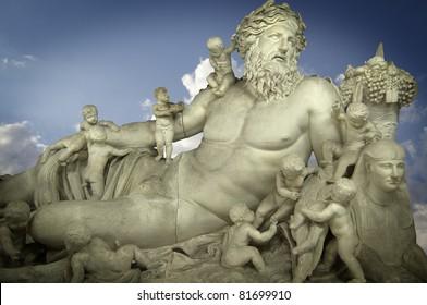 Sculpture of the god Zeus and his children, classic Greek art