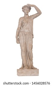 Sculpture of the Greek god Ceres isolated on white background. Ceres was a goddess of agriculture, grain crops, fertility and motherly relationships. Sculptor S. S. Pimenov. Created in 1822