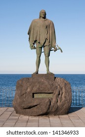 Sculpture of the guanche mencey (aboriginal king) Bencomo in the waterfront of Candelaria, Tenerife, Canary Islands, Spain.