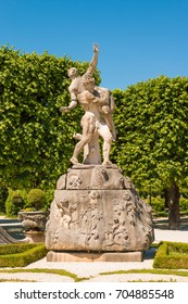 Sculpture of Hades abducting Persephone in Marabellgarten (Mirabell Gardens), Salzburg, Austria.  Rape of Persephone (Proserpina) is a classical mythological subject in Western art.
