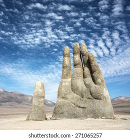Sculpture of a hand located in the Atacama Desert in Chile