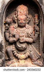 A sculpture of the Hindu god Shiva in his tantric form of Bhairava in Svayambhunath, Nepal