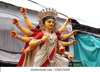 Sculpture of Hindu Goddess Durga .  Durga Puja festival in West Bengal, India
