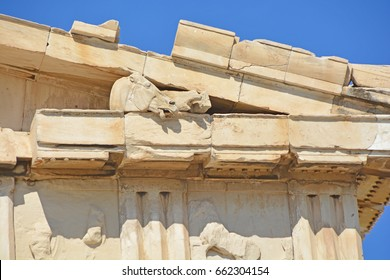 Sculpture of a horse's head, as part of the frieze decorating the entablature of the Parthenon on the Athens Acropolis, greece
