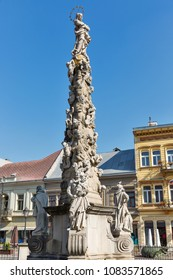 Sculpture Immaculata or Plague Column in Kosice old town, Slovakia. Baroque Marian and Holy Trinity column.
