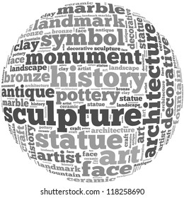 sculpture info-text graphics and arrangement concept on white background (word cloud)