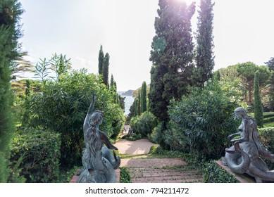 sculpture in Jardines de Santa Clotilde. Lloret de Mar, Costa Brava, Catalonia, Spain september 2017.