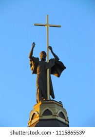Sculpture of John the Forerunner on the temple against the blue sky in Dnepropetrovsk (Ukraine)