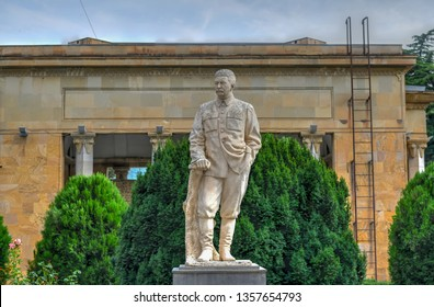 Sculpture of Joseph Stalin outside his house and museum In Gori, Georgia.