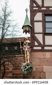Sculpture of a knight in armor on the facade of a house in Nuremberg, Germany. Europe.