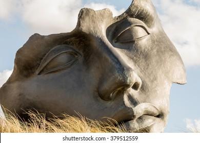 """Sculpture """"Light of the Moon"""" at terrace near the Beelden aan Zee Museum. Scheveningen, Hague, Netherlands"""