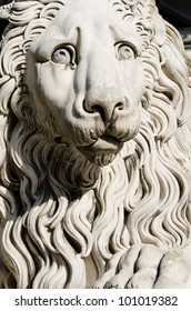 sculpture of a lion in cathedral of St. Lawrence in Genoa