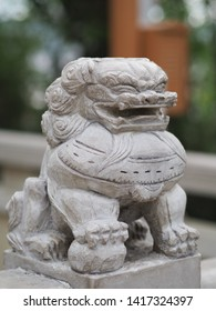 A sculpture of lion ,symbolic of power in tibet temple.