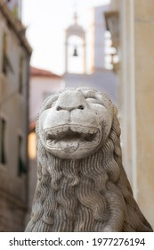 sculpture of a lion's head on the facade of the Šibenik Cathedral , Croatia