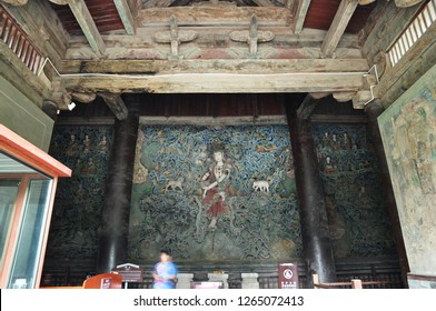 Sculpture of longxing temple in zhengding county, hebei province, China, July 7, 2018: seated upside down guanyin, with an ancient temple and a famous scenic spot of more than 1,000 years.