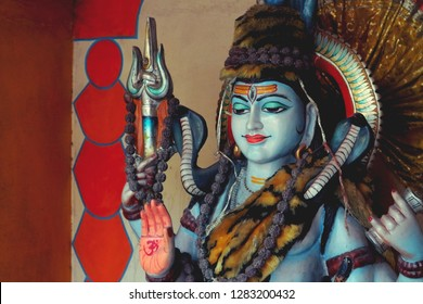 Sculpture of Lord Shiva in India, Rishikesh.