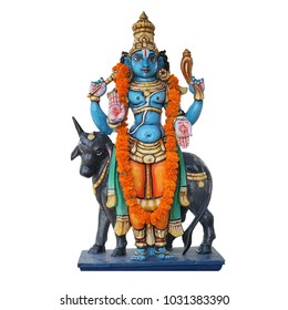 Sculpture of Lord Vishnu with cow isolated on white background. The four-armed form of Vishnu with a garland of real flowers.