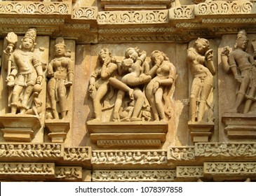 Sculpture of love making on the temples at Khajuraho India, popular worldwide for its outstanding architectural designs and the art of ecstacy. It is a unesco world Heritage site