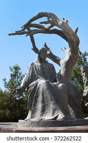 Sculpture of Nizami poem in Gencevi  Meqberesi mausoleum in Gyanja, Gence, Azerbaijan