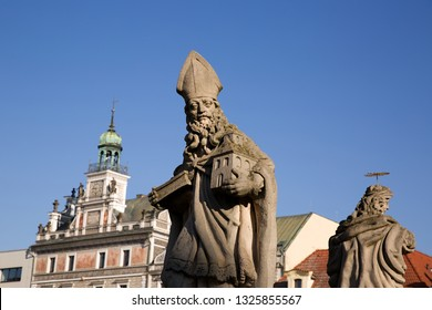 Sculpture on the blue sky, Marian Column on Charles Square, city Kolín, Czech republic,