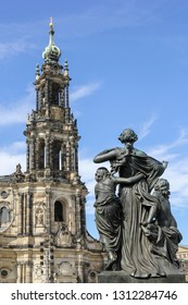 Sculpture on the Bruhl Terrace, a historic architectural ensemble in Dresden, Germany