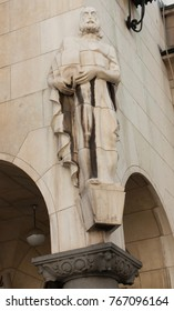 Sculpture on building in Sofia, capital of Bulgaria.