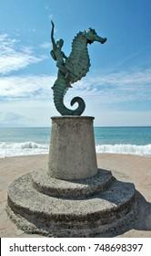 Sculpture on Puerto Vallarta ocean promenade in Mexico