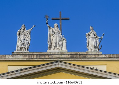 Sculpture on top of the Basilica. The Cathedral or basilica of Eger - this is the third largest Catholic Church in Hungary. It was built between 1831 - 1837 in classicist designs by Joseph Hild.